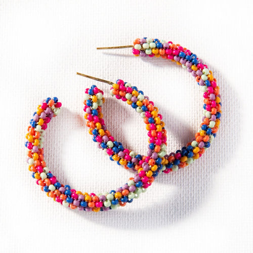 Beaded Confetti Hoop Earrings