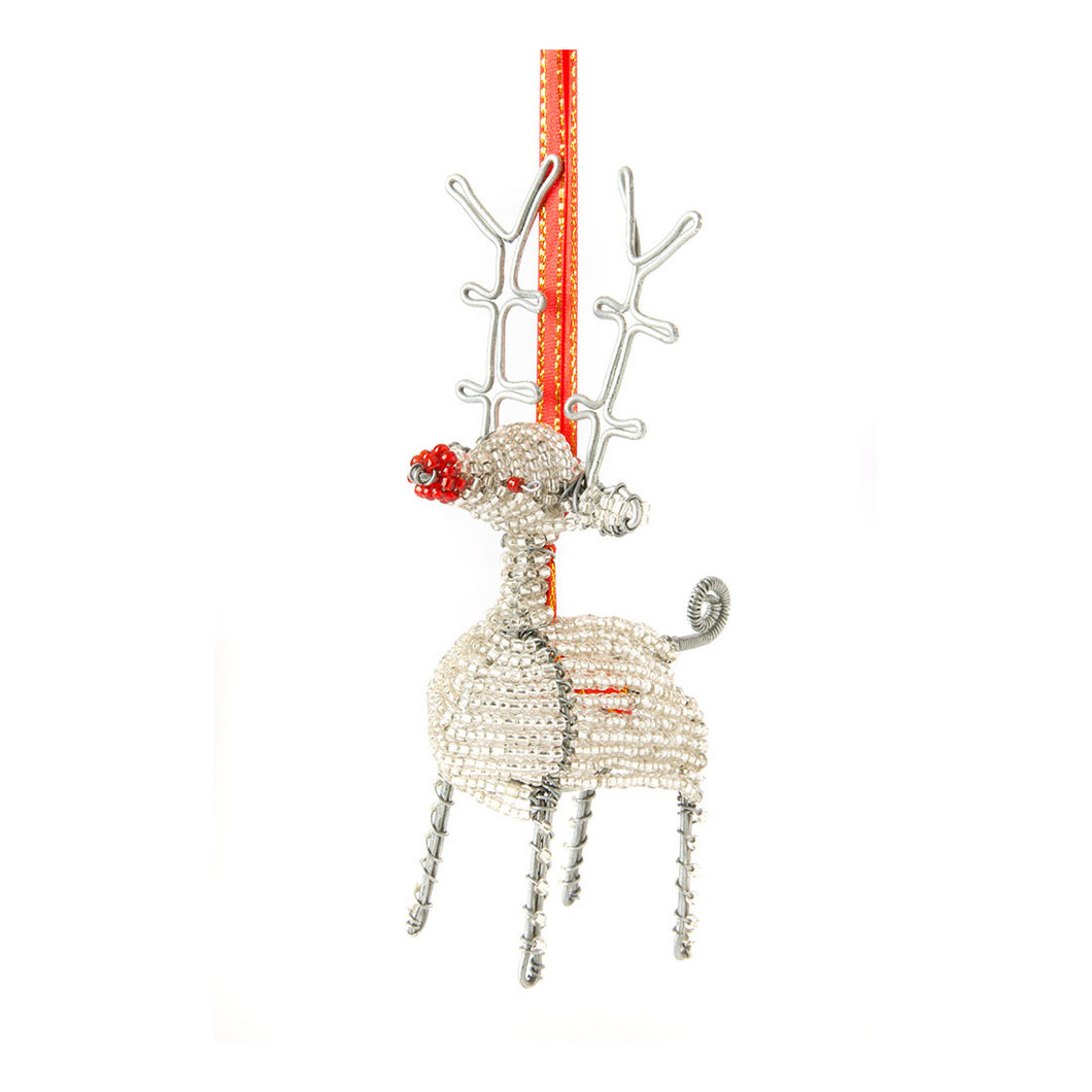 Handmade Beaded Reindeer Ornament