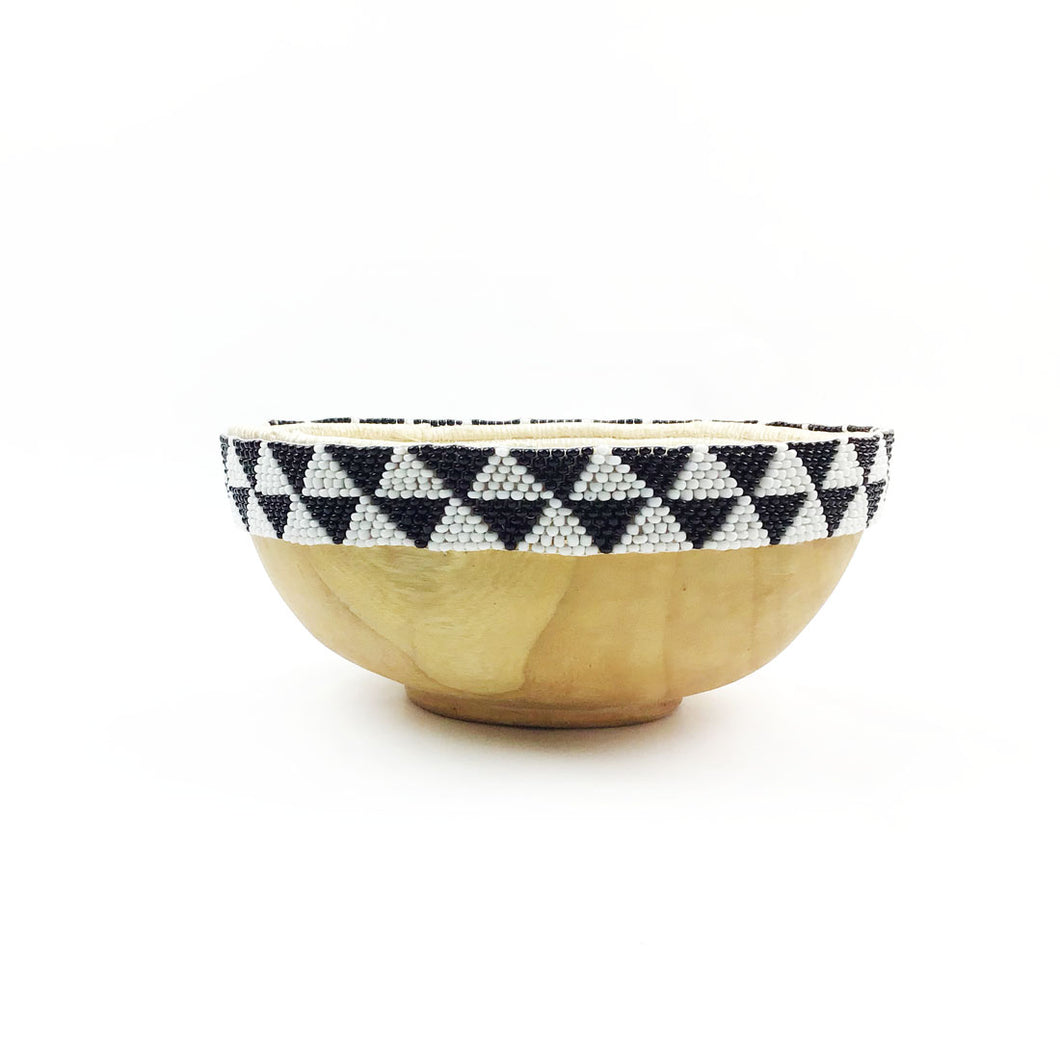 Beaded Wood Accent Bowl