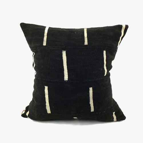 Black with White Dash Vintage Mudcloth Pillow with Insert