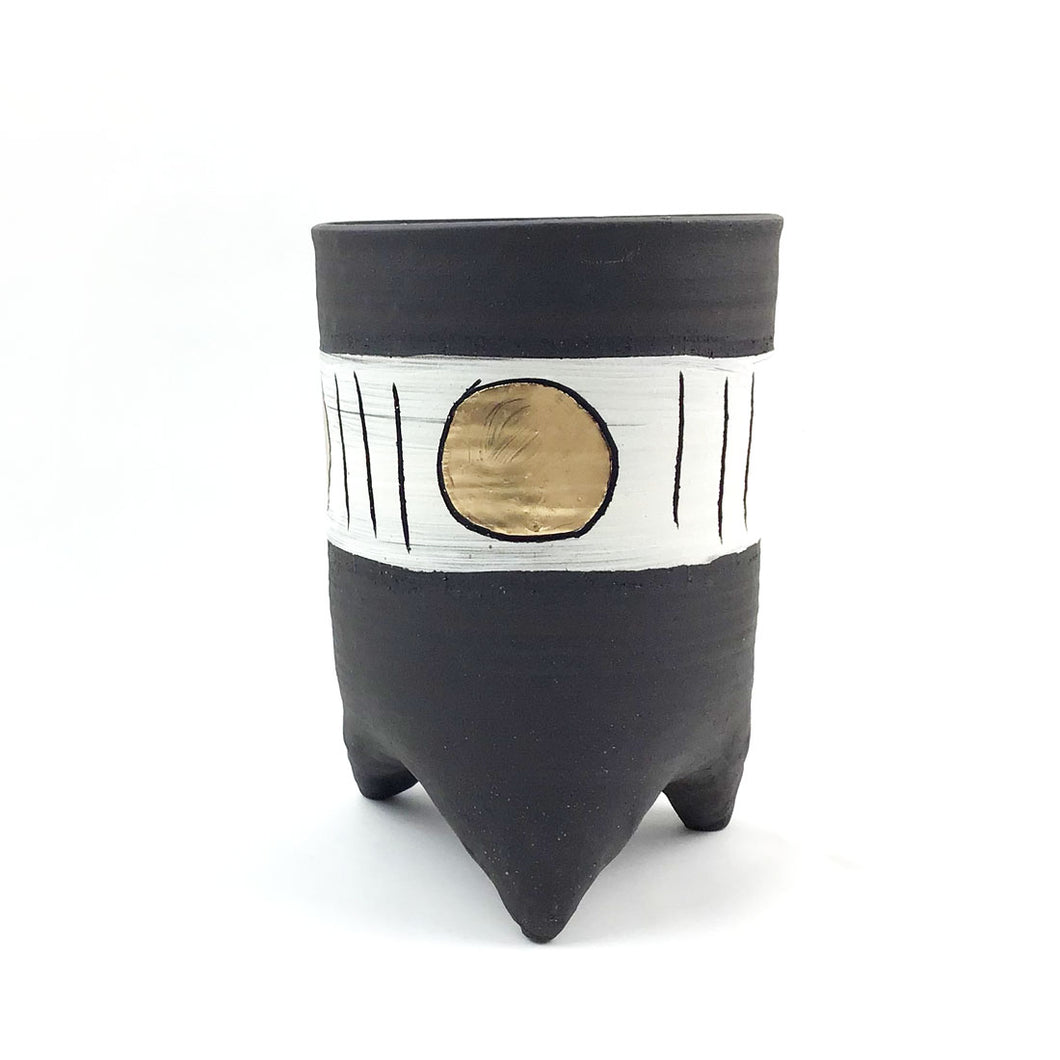 Black and Gold Footed Planters