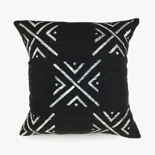 Black with White X Vintage Mudcloth Pillow with Insert