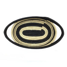 Load image into Gallery viewer, Natural Raffia and Black Stripe Oval Basket
