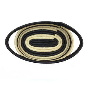 Natural Raffia and Black Stripe Oval Basket
