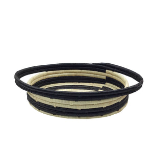 BIST: Natural Raffia and Black Stripe Oval Basket
