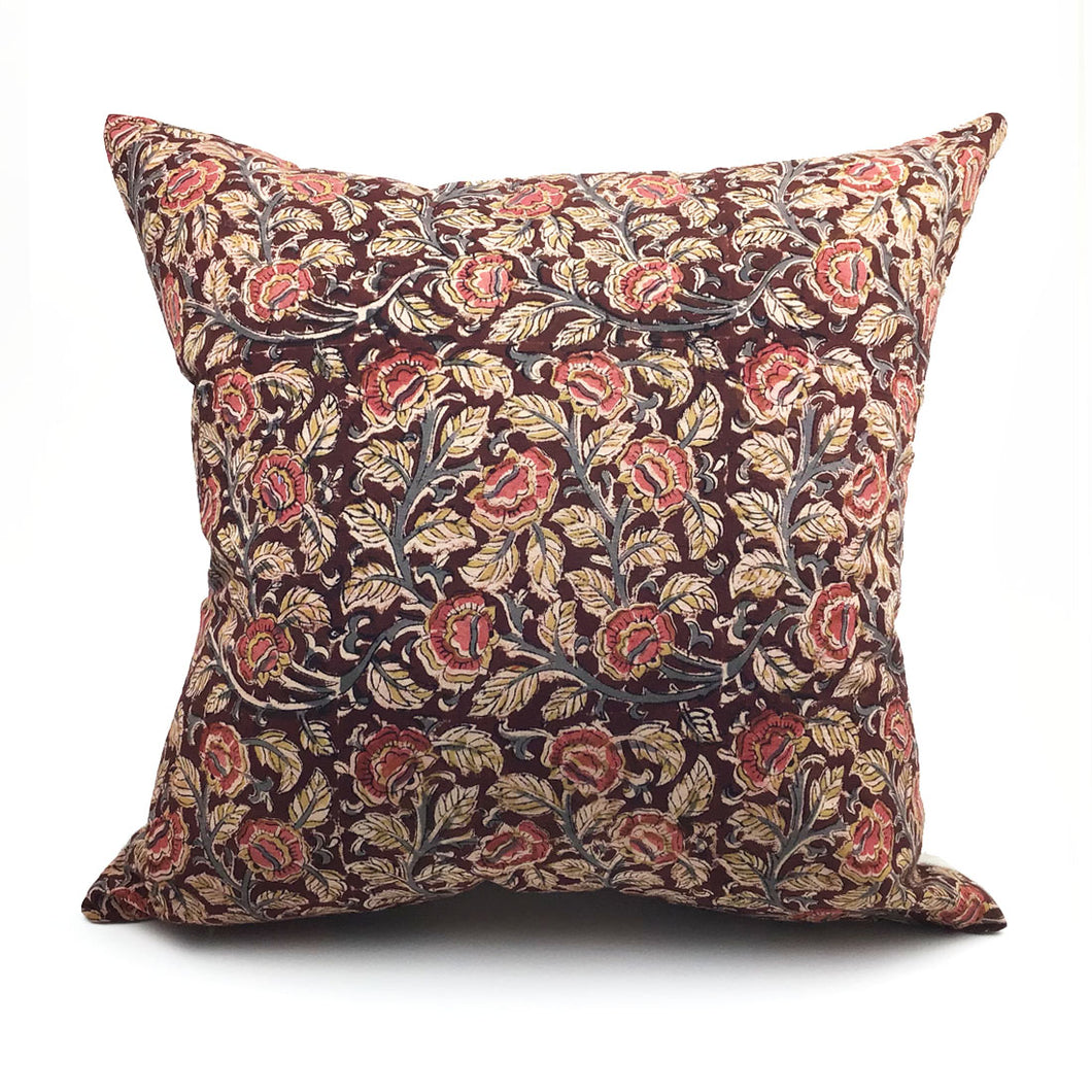 Blockprint Floral Vine Throw Pillow