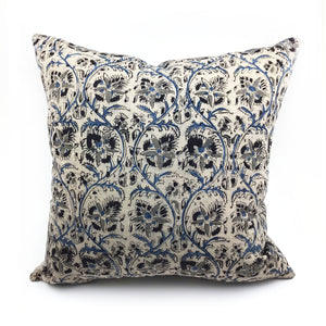 Blockprint Beige Floral Throw Pillow