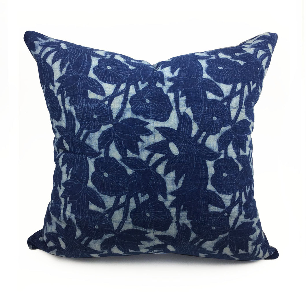 Blockprint Blue Floral Throw Pillow