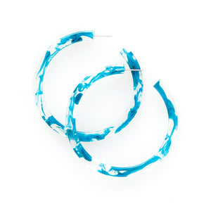 Turquoise Marbled Acetate Hoop Earrings
