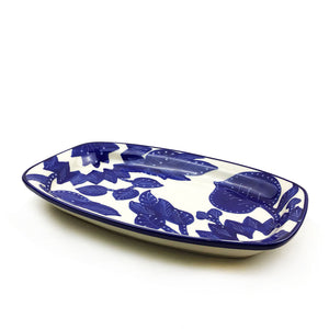 Blue and White Rectangle Platter