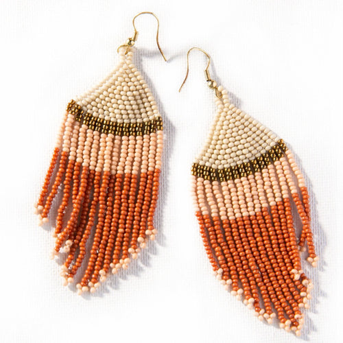 Desert Brass Beaded Fringe Earrings