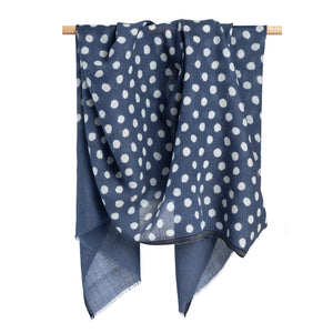 English Blue Dot Scarf