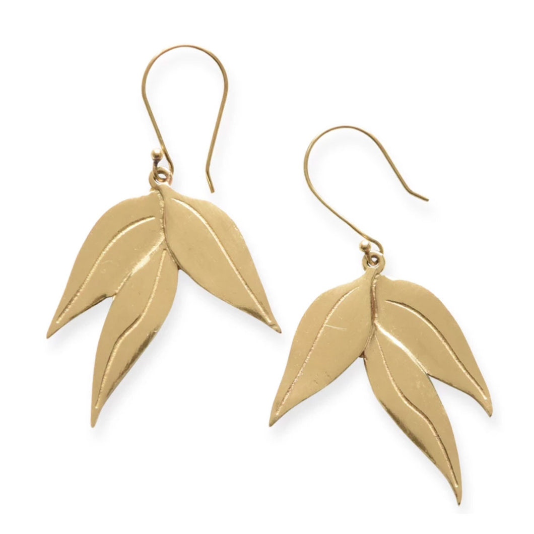 Brass Eucalyptus Earrings