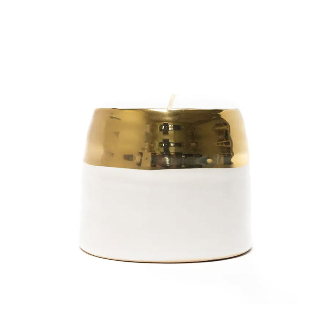 Gold Rim White Ceramic Soy Candle