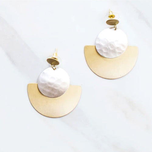 Gold and Silver Disk Earrings