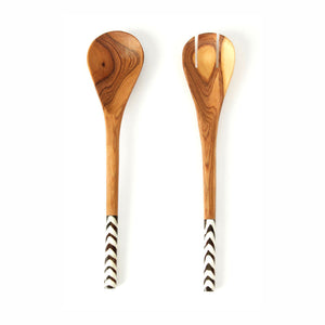 Kenyan Olive Wood with Inlay Salad Servers