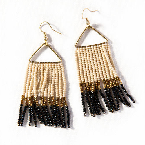 Ivory Black and Brass Beaded Fringe Earrings
