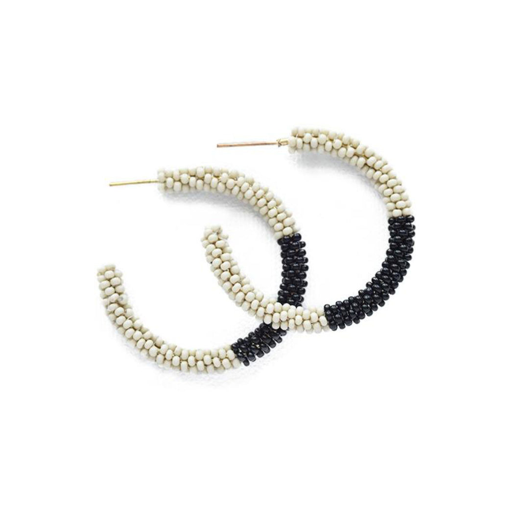Ivory and Black Beaded Hoop Earrings