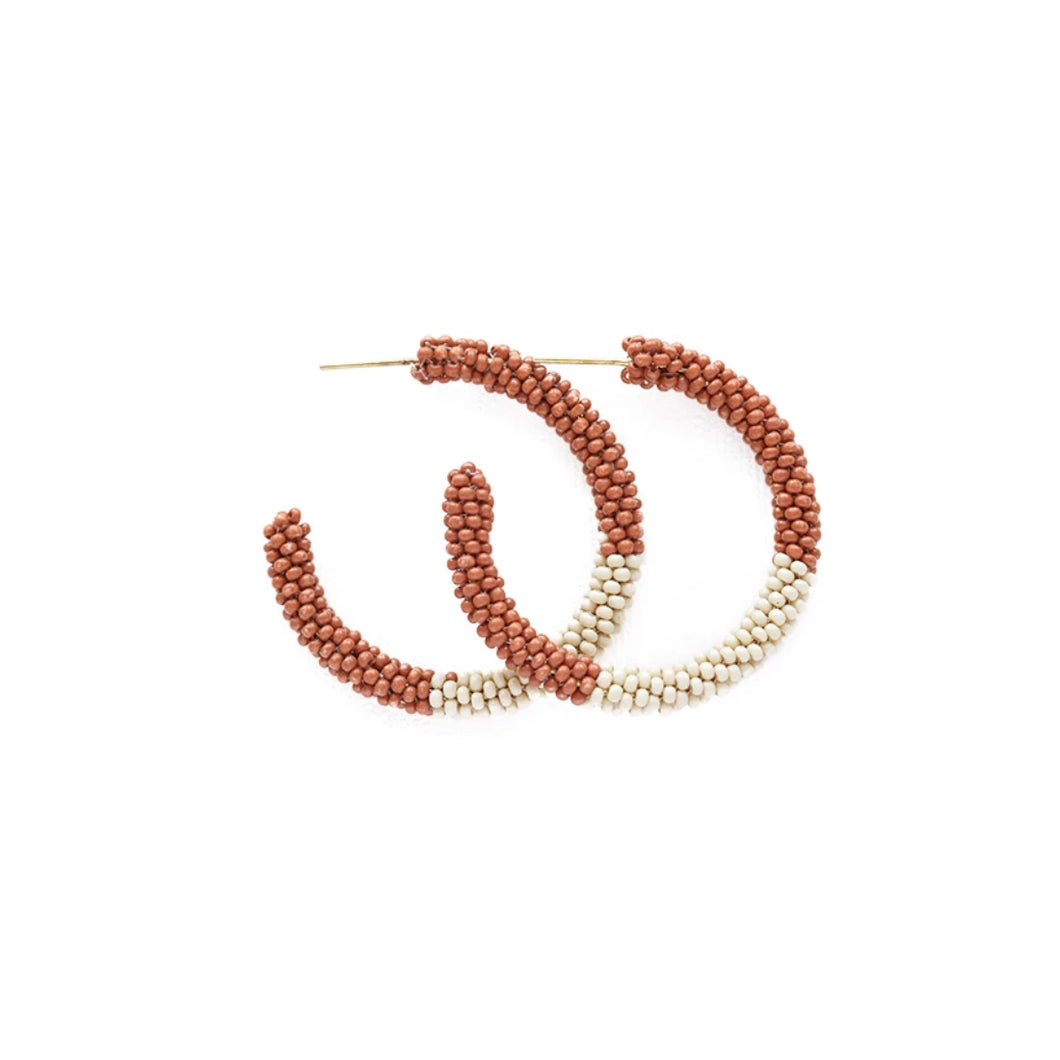 Ivory & Rust Beaded Hoop Earrings