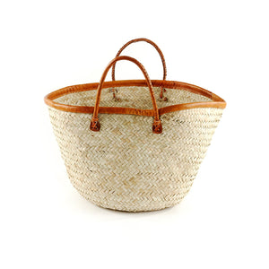 Kenyan Palm Shopper with Leather Trim