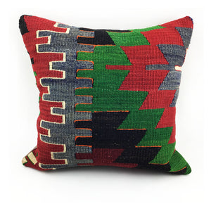 "16""x16"" Vintage Kilim Pillow with Insert - #1"