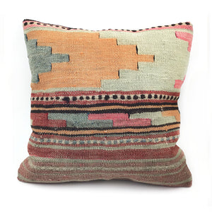 "18"" x 18"" Vintage Kilim Throw Pillow with Insert - #23"