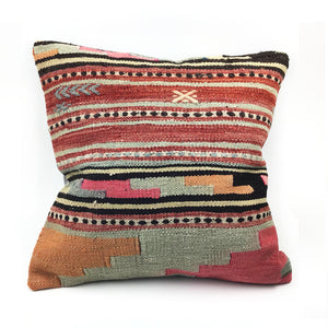 "18"" x 18"" Vintage Kilim Throw Pillow with Insert - #20"