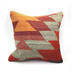 "16"" x 16"" Vintage Kilim Throw Pillow with Insert - #24"