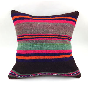 "16""x16"" Vintage Striped Kilim Pillow with Insert"