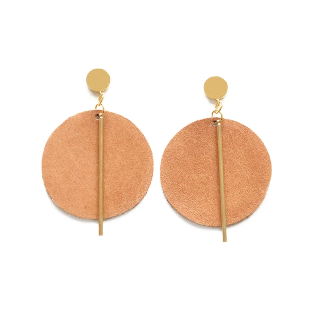 Leather and Brass Circle Earrings