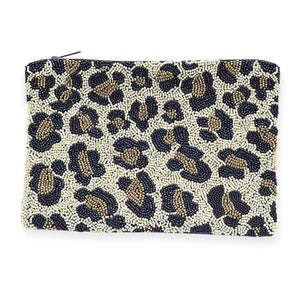 Beaded Leopard Clutch