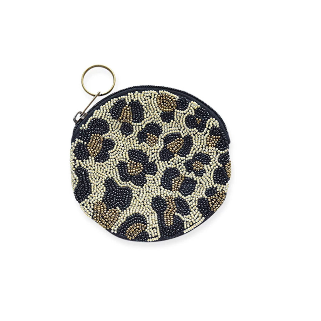 Beaded Leopard Coin Purse