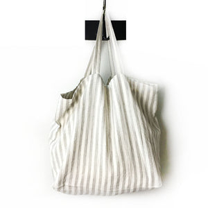 Washed Linen Stripe Tote Bag