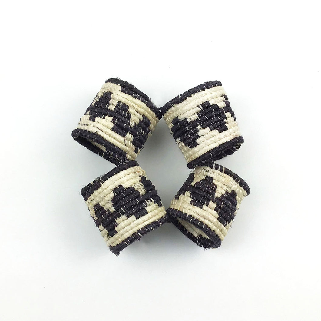 Black and White Napkin Rings - Set of 4