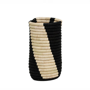 Black and Natural Hand-Woven Vase with Insert