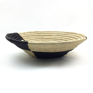 Natural and Black Abstract Bowl Basket