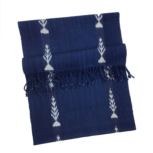 BIST: Handwoven Guatemalan Table Runner - Navy Ikat