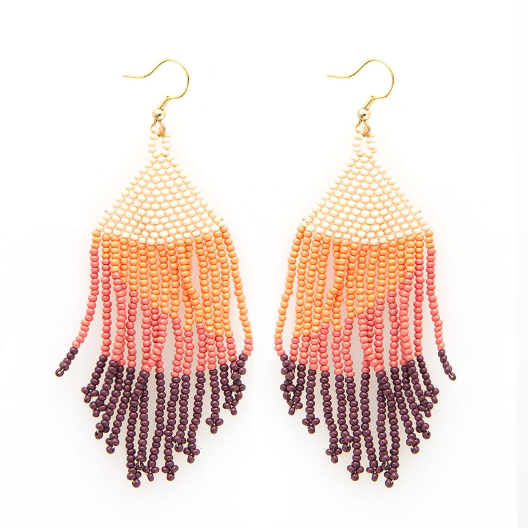 Pink Ombre Beaded Fringe Earrings