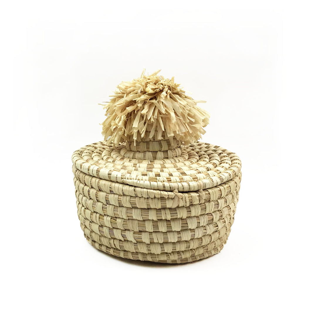 Natural Pom Basket