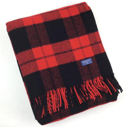 Faribault Bison Check Throw - Red/Black