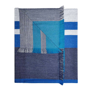 Reversible Plaid Alpaca Throw - Azure