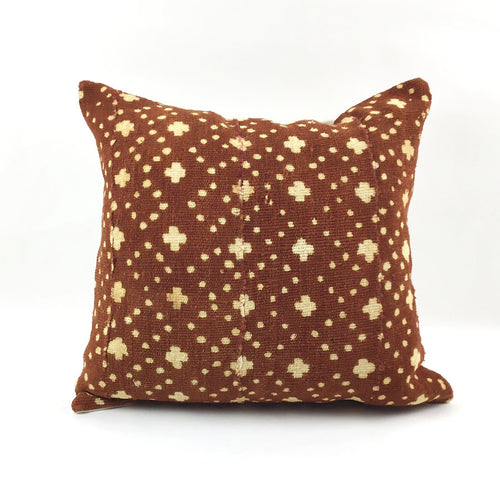 Rust Vintage African Mudcloth Pillow with Insert