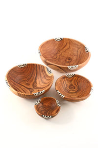 Hand-Carved Olive Wood with Inlay Bowls