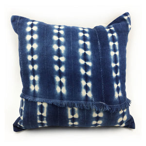 "16""x16"" Vintage Shibori Fringe Throw Pillow with Insert"