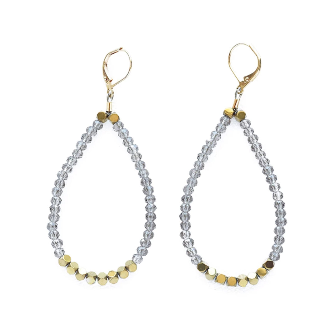 Smoky Crystal Loop Earrings