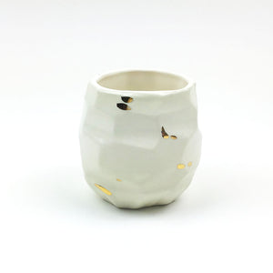White and Gold Small Faceted Planter