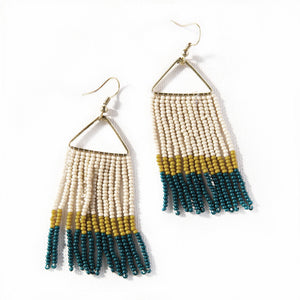 Forest Brass Beaded Fringe Earrings