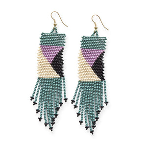 Teal & Lilac Fringe Earrings