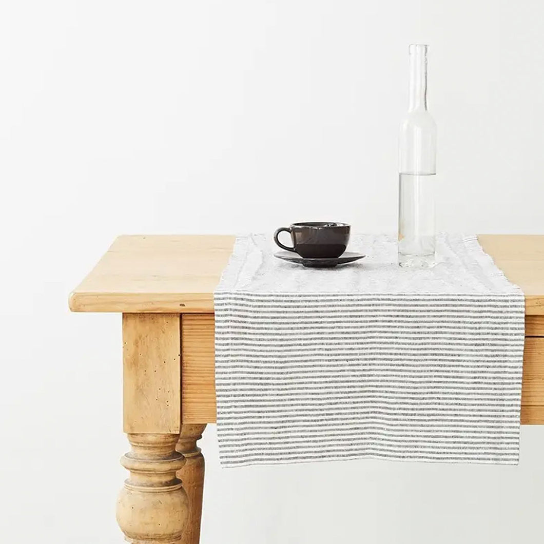Linen Ticking Stripe Table Runner