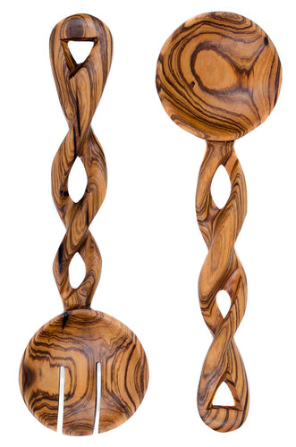 BIST: Twisted Olive Wood Salad Servers